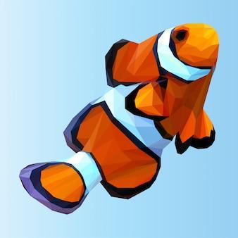 Vettore poligonale del pesce pagliaccio sveglio