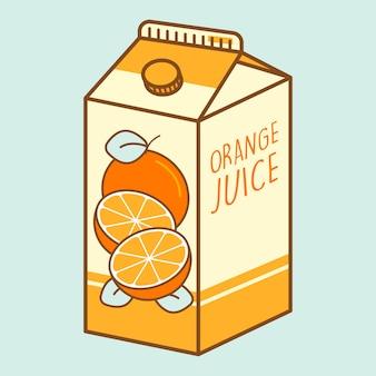 Vettore premio del tetra brick del fumetto del succo d'arancia
