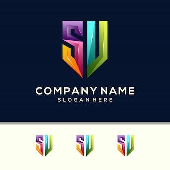 Vettore premium modello di progettazione logo colorato lettera sv