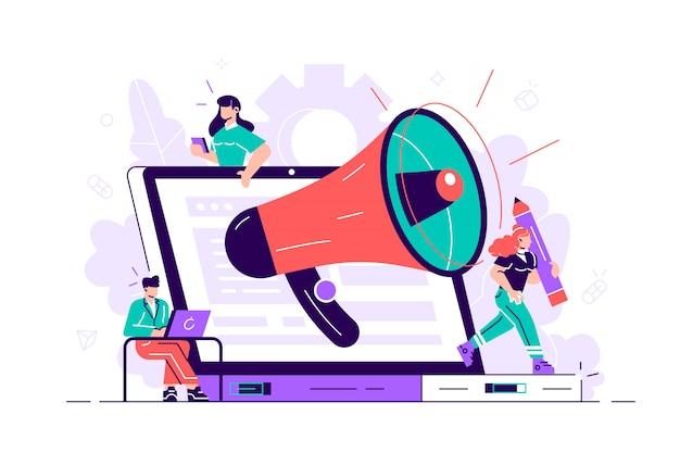 Vettore. promozione aziendale su internet per una pagina web, pubblicità, chiamate attraverso un urlo, avvisi online. illustrazione di stile piano per pagina web, social media, documenti, carte, poster.