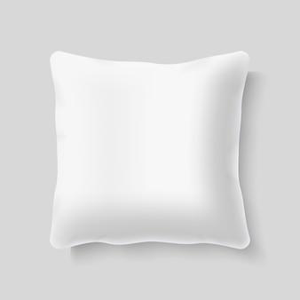 Vettore realistico bianco del cuscino del cuscino del quadrato bianco. modello di cuscino per letto, illustrazione di finta
