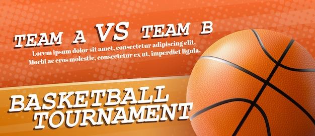 Vettore realistico del modello dell'insegna dell'annuncio del torneo di pallacanestro