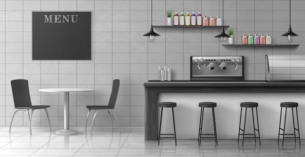 Vettore realistico interno del sottotetto moderno della caffetteria