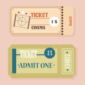Vettore retro concetto di biglietti del cinema d'epoca.
