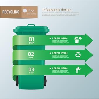 Vettore riciclare bidoni dei rifiuti infographic