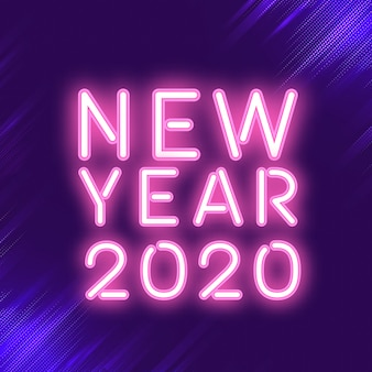 Vettore rosa del segno al neon del nuovo anno 2020