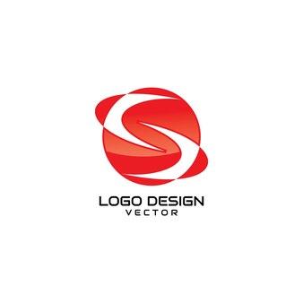 Vettore rosso astratto di progettazione di logo di simbolo di s