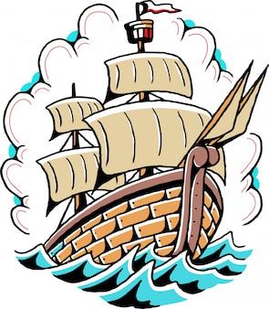 Vettore semplice del tatuaggio della vecchia scuola della nave