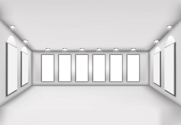 Vettore semplice interno dell'illustrazione 3d con lo spazio in bianco della parete