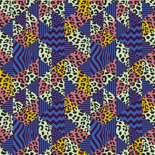 Vettore senza cuciture del modello con struttura memphis della pelle del ghepardo