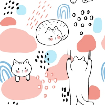 Vettore senza cuciture del modello dei gatti dolci svegli del fumetto.