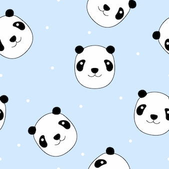 Vettore senza cuciture del modello del fronte sveglio del panda