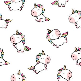 Vettore senza cuciture del modello del fumetto sveglio dell'unicorno