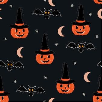 Vettore senza cuciture del modello di notte sveglia di halloween