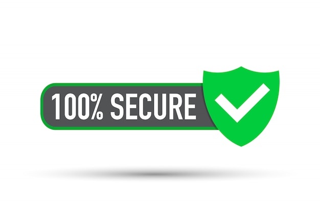 Vettore sicuro. badge o pulsante per il sito web commerciale.