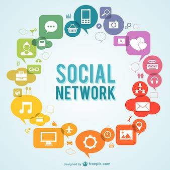 Vettore social network con icone