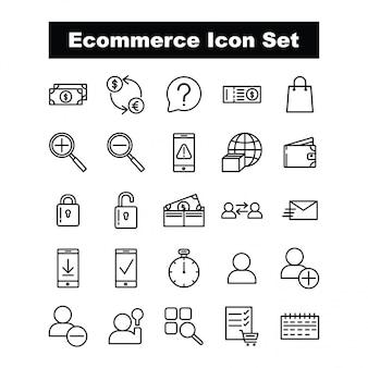 Vettore stabilito dell'icona di commercio elettronico