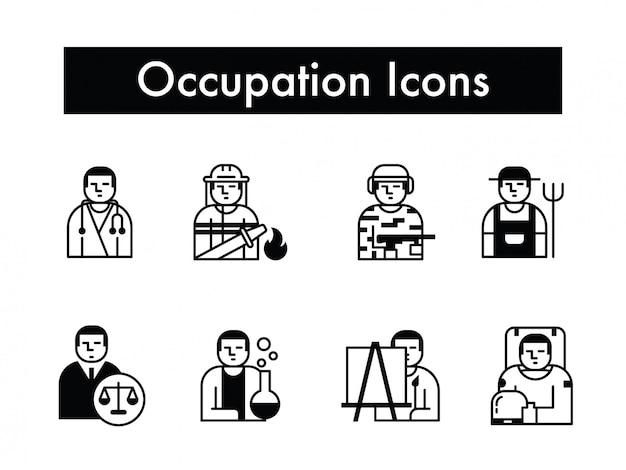 Vettore stabilito dell'icona di occupazione o di lavoro o della professione