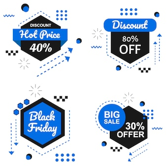 Vettore stabilito dell'insegna speciale di black friday blue