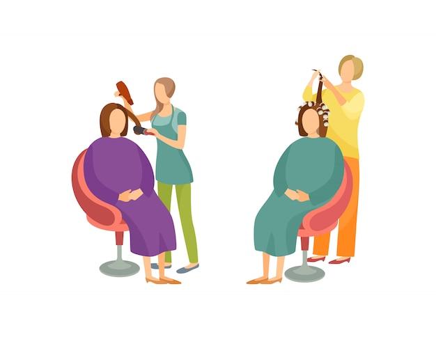 Vettore stabilito icone degli stilisti di styling dei capelli del salone della stazione termale