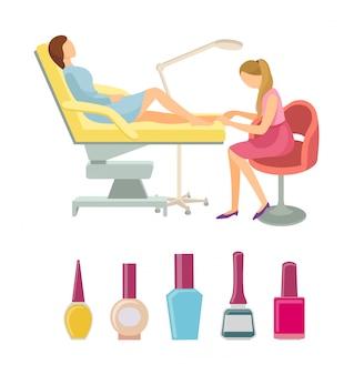 Vettore stabilito icone di procedure di pedicure del salone della stazione termale