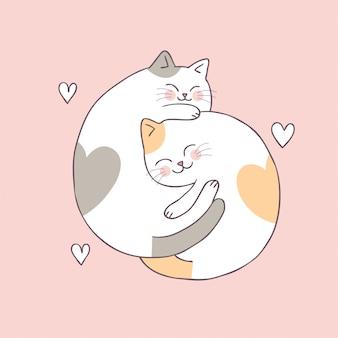 Vettore sveglio dei gatti delle coppie di giorno di biglietti di s. valentino del fumetto.