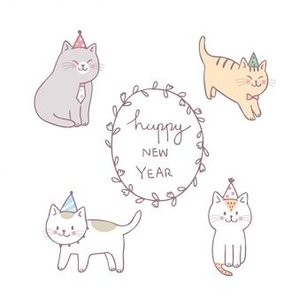 Vettore sveglio del buon anno del gatto sveglio del fumetto.