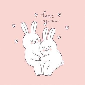 Vettore sveglio del coniglio delle coppie di giorno di biglietti di s. valentino del fumetto.