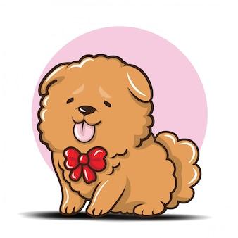 Vettore sveglio del fumetto del cane di chowchow.