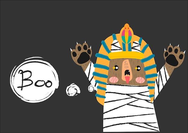 Vettore sveglio del fumetto del costume della mummia dell'orso.