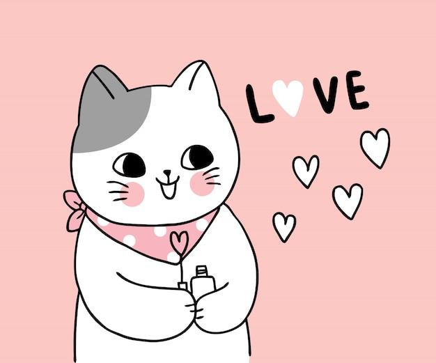 Vettore sveglio del gatto e del cuore di giorno di biglietti di s. valentino del fumetto.