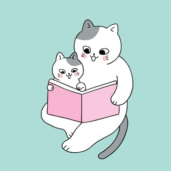 Vettore sveglio del libro di lettura del gatto del papà e del bambino sveglio del fumetto.