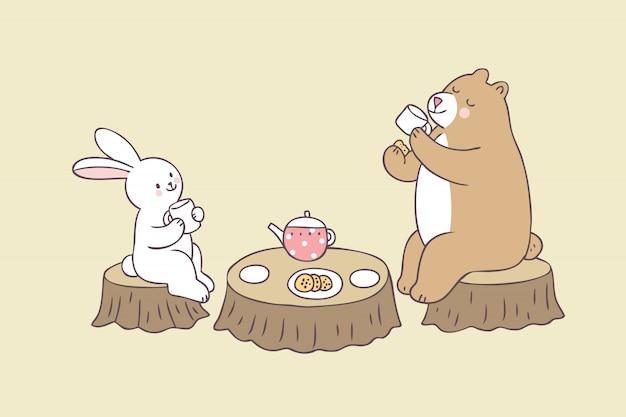 Vettore sveglio del tempo del tè del coniglio e dell'orso del fumetto.