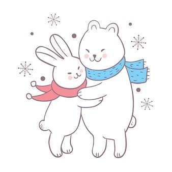 Vettore sveglio dell'orso polare di abbraccio del coniglio di inverno del fumetto.