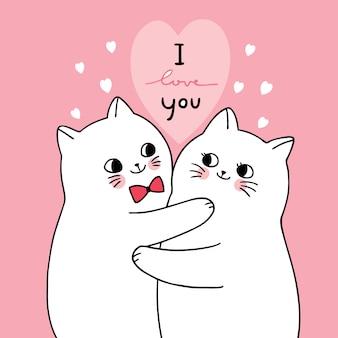 Vettore sveglio dell'amante dei gatti bianchi di giorno di biglietti di s. valentino del fumetto.