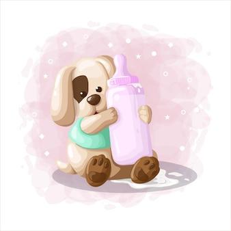 Vettore sveglio dell'illustrazione del cucciolo di cane del fumetto