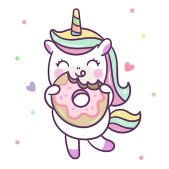 Vettore sveglio dell'unicorno che mangia ciambella