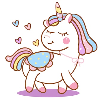 Vettore sveglio dell'unicorno con il fumetto del cuore