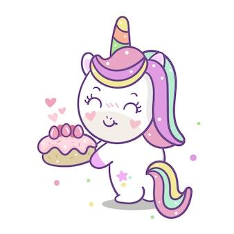 Vettore sveglio dell'unicorno con il fumetto della torta