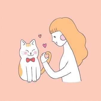 Vettore sveglio della donna e del gatto di giorno di biglietti di s. valentino del fumetto.