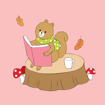Vettore sveglio della tazza di caffè e del libro di lettura dello scoiattolo del fumetto.