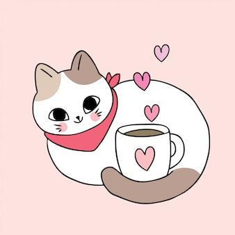 Vettore sveglio della tazza di gatto e di caffè del cartone.