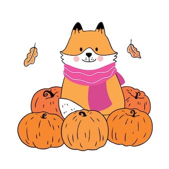 Vettore sveglio di autunno, della volpe e delle zucche del fumetto.