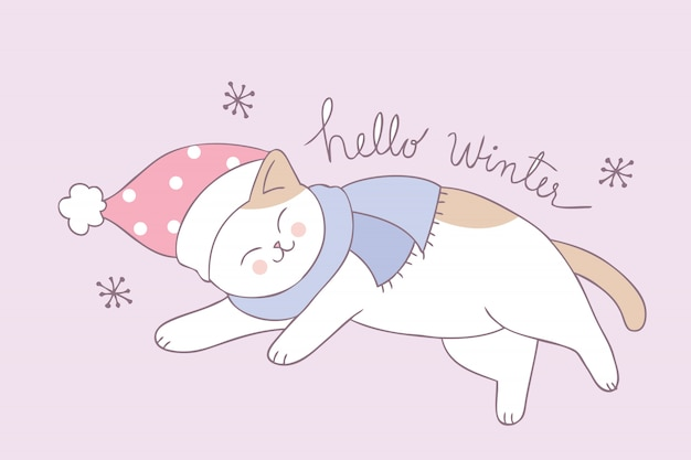 Vettore sveglio di sonno del gatto di inverno del fumetto.