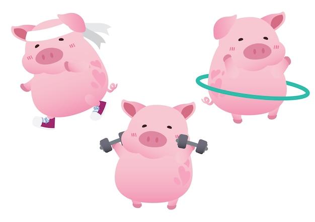 Vettore sveglio rosa di progettazione di carattere di dieta di esercizio del maiale