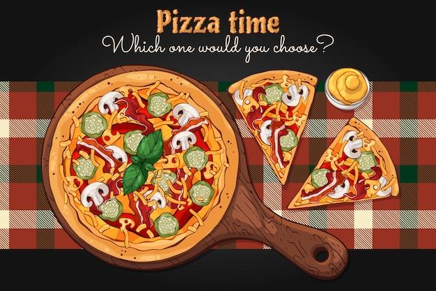 Vettore. tema del fast food: pizza su una tavola.