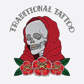 Vettore tradizionale flash tatuaggio teschio
