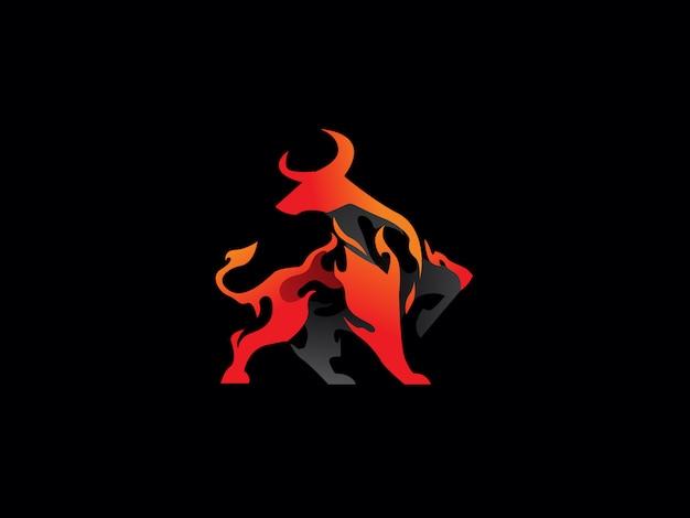 Vettore unico dell'icona di logo del toro di pendenza
