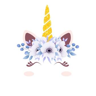 Vettore unicorno carino con corona floreale