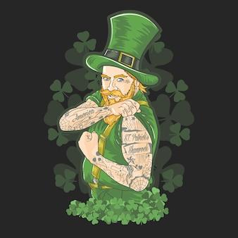 Vettore verde del tatuaggio di shamrock di giorno della st patrick
